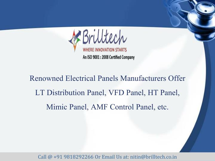 Renowned Electrical Panels Manufacturers Offer LT Distribution Panel, VFD Panel, HT Panel, Mimic Pan...
