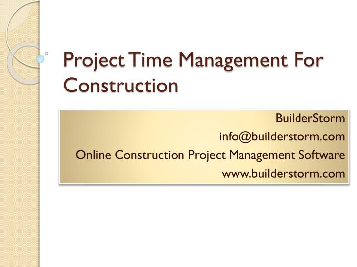 project time management for construction n.