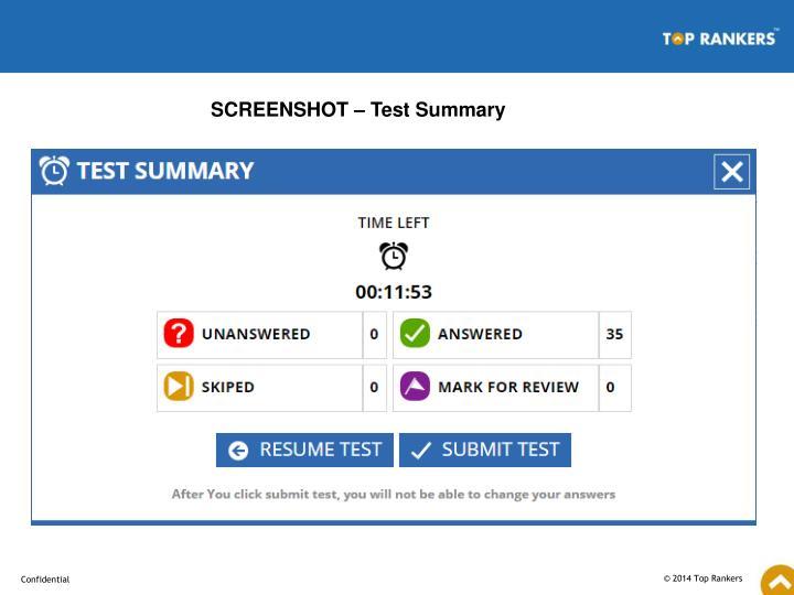 SCREENSHOT – Test Summary