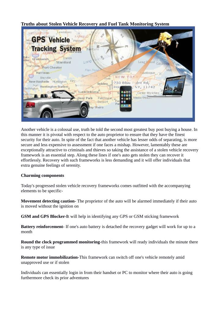PPT - Truths about Stolen Vehicle Recovery and Fuel Tank
