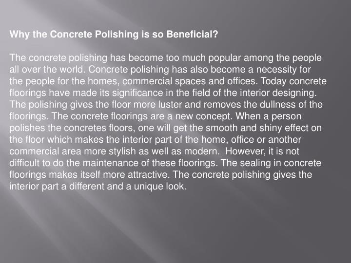 Why the Concrete Polishing is so Beneficial?