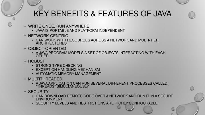 Key benefits features of java