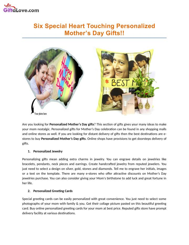3af0c6a77 PPT - Six Special Heart Touching Personalized Mother s Day Gifts ...