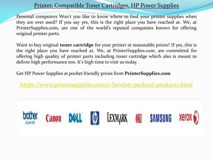 Printer, Compatible Toner Cartridges, HP Power Supplies