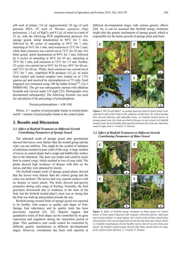 American Journal of Agriculture and Forestry 2015; 3(6): 264-270