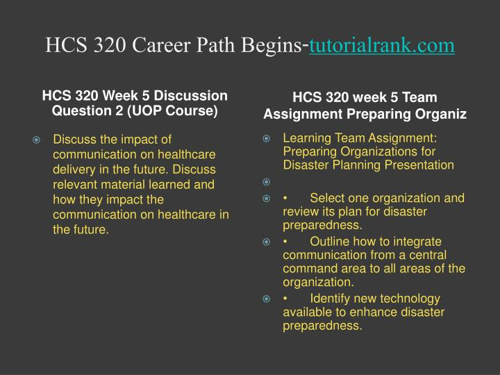 hcs 320 health care process A+ grade work hcs 320 week 4 you are the project manager at a state-supported public health care what potential communication obstacles might arise from the.
