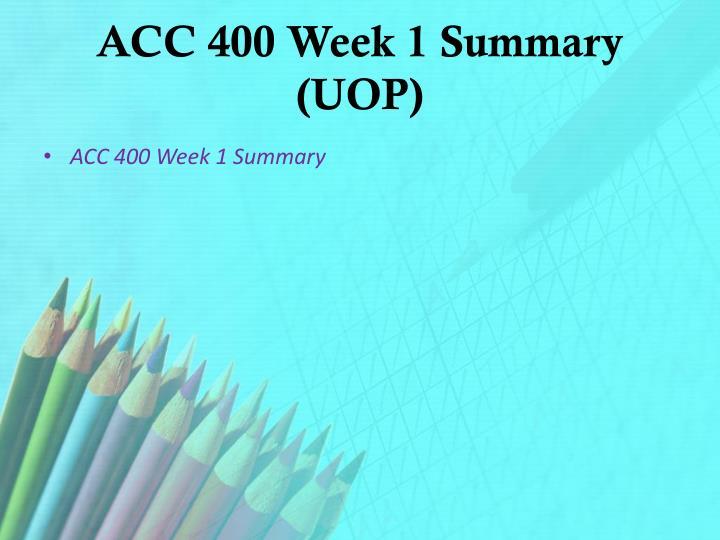 week 1 summary