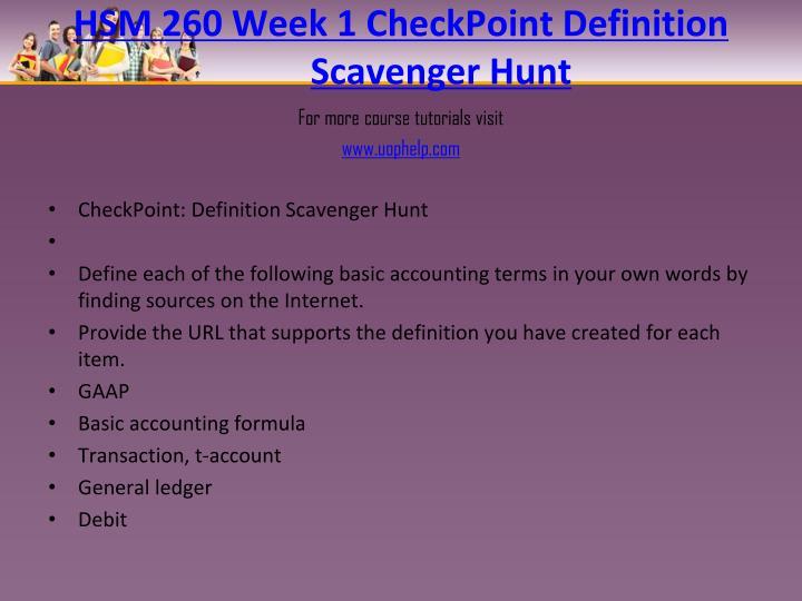Hsm 260 week 1 checkpoint definition scavenger hunt