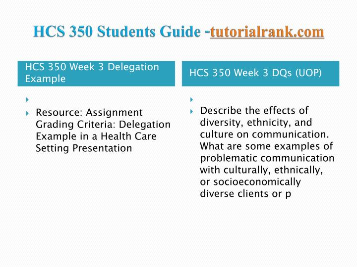 hcs 350 delegation example in a Hcs 350 uop course tutorial / tutorialrank published by admin on january 19, 2018 hcs 350 week 3 delegation example in a health care setting presentation.
