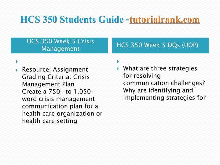 crisis management hcs 350