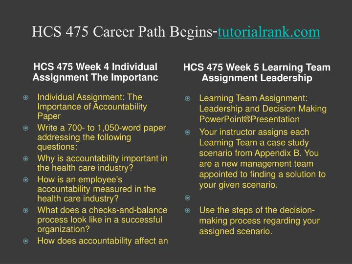 hcs 475 leadership and decision making presentation Hcs 475 week 5 learning team assignment leadership and decision making powerpoint presentation this tutorial contains 2 presentation hcs 475 week 5.