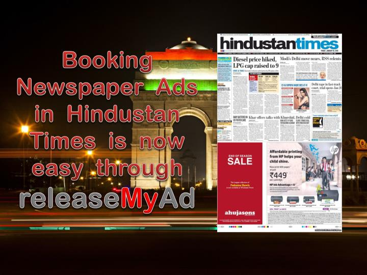 Booking newspaper ads in hindustan times is now easy through release my ad