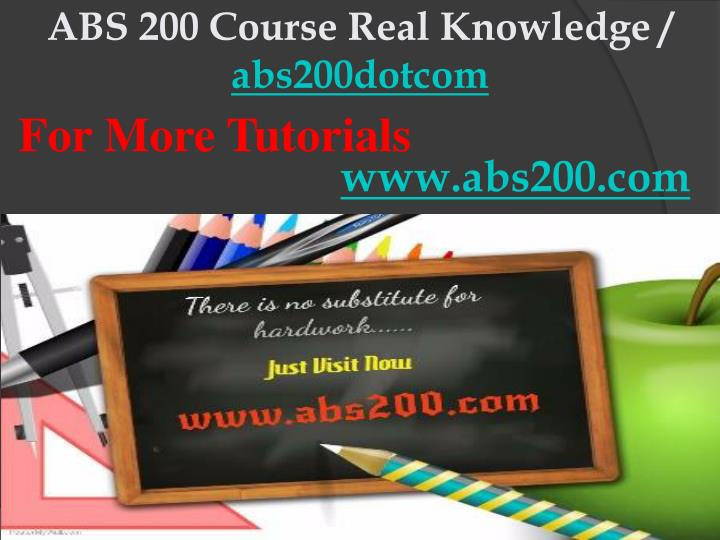 abs 200 course real knowledge abs200dotcom n.