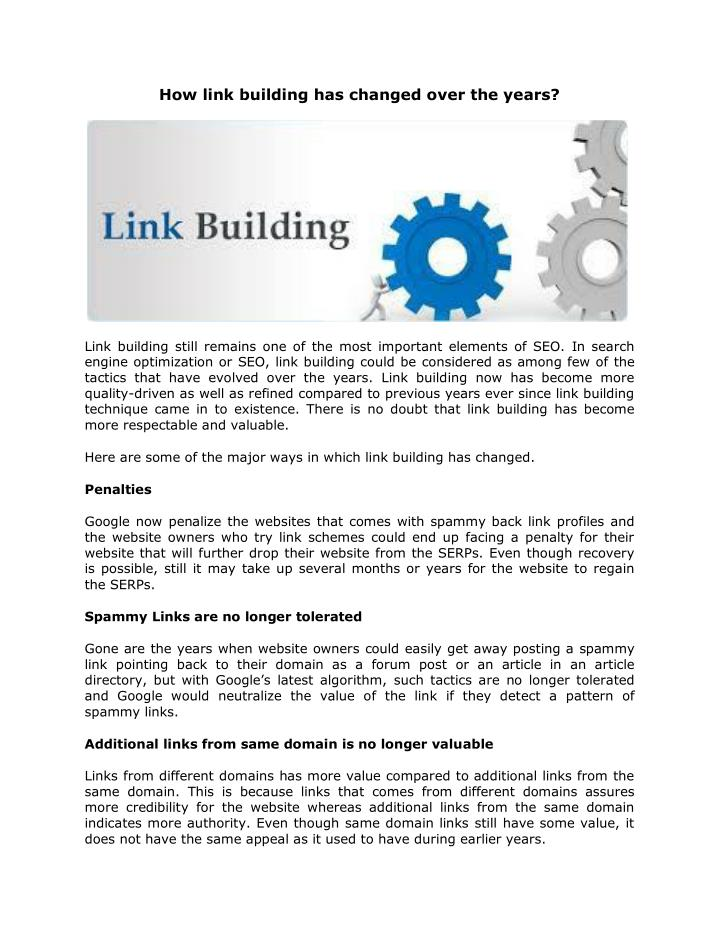 How link building has changed over the years?