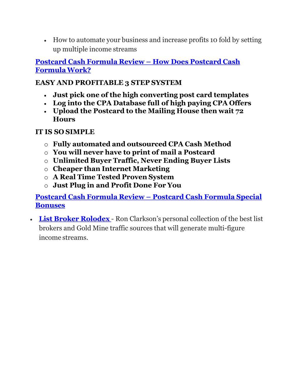 PPT - Postcard Cash Formula Review - Postcard Cash Formula DEMO