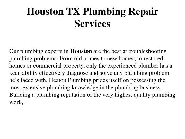 Houston TX Plumbing Repair Services