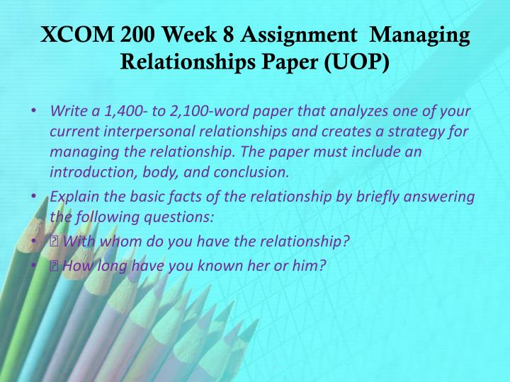 com 200 managing relationships paper Managing relationships paper 2 managing relationships paper relationships can be the most meaningful part of people's lives most of us are allured to the notion that effortless relationships exist.