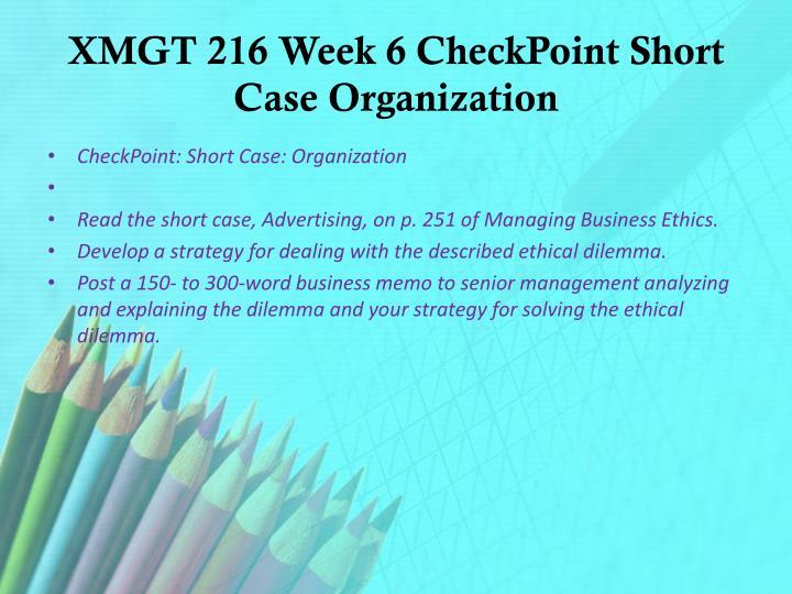 xmgt 216 week 6 virtual organization