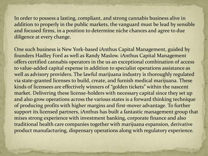 In order to possess a lasting, compliant, and strong cannabis business alive in addition to properly...