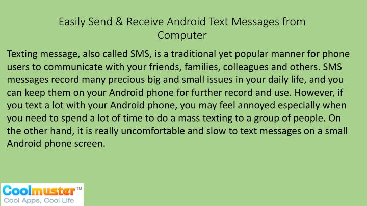 easily send receive android text messages from computer