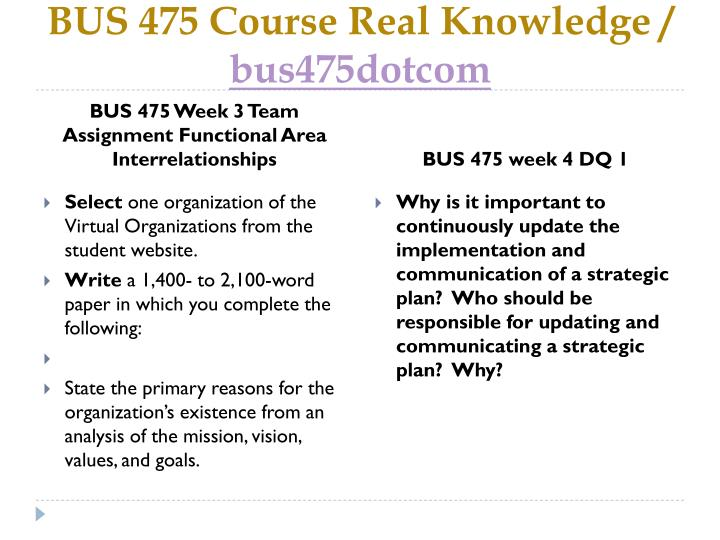 functional area interrelationships paper virtual organizations Bus 475 week 3 lt assignment functional area interrelationships bus 475 week write a 700 to 1,050-word paper in which you analyze the individual values and.