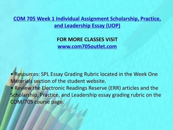 com 705 spl final essay Answers: practice, and leadership presentation, spl essay grading rubric practice, and leadership essay grading rubric on the com/705 course page.