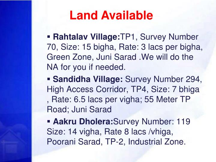 Land Available