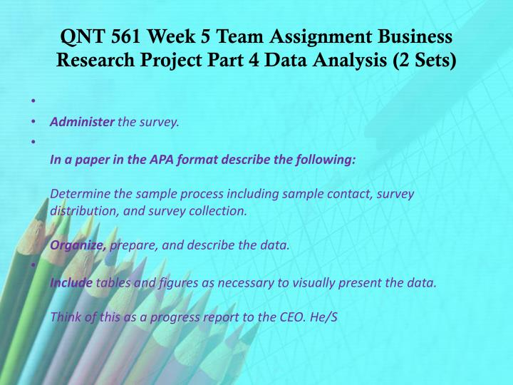 business research project part 5 week
