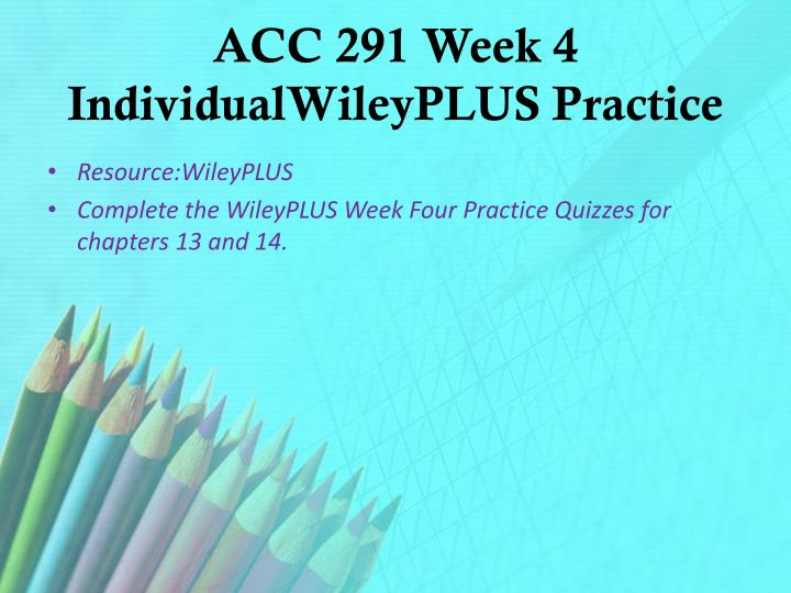 accounting 291 week 2 wiley plus e9 10