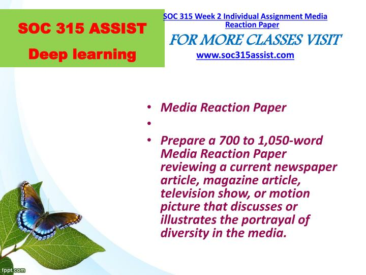soc reaction paper Free essays on media reaction paper soc 315 for students use our papers to help you with yours 1 - 30.