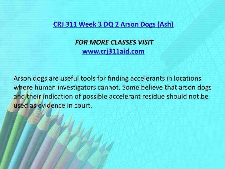 CRJ 311 Week 3 DQ 2 Arson Dogs (Ash)