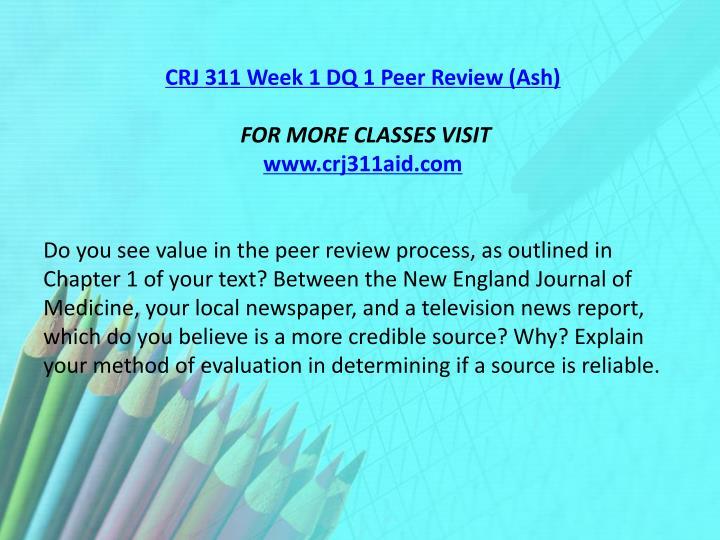 CRJ 311 Week 1 DQ 1 Peer Review (Ash)