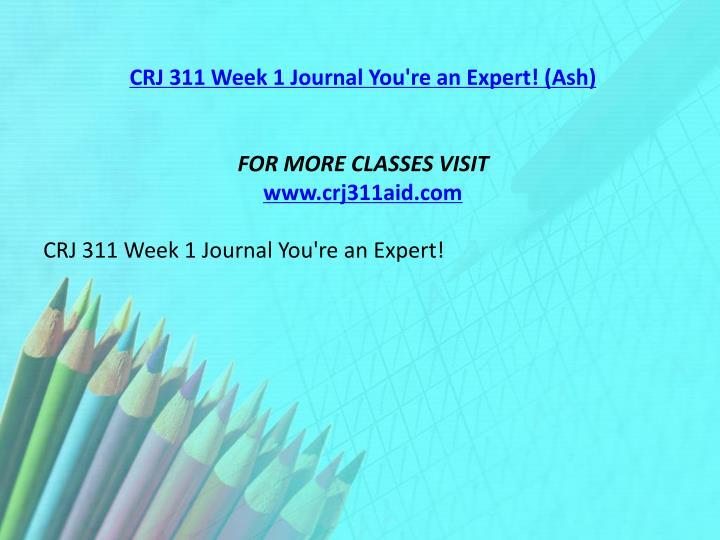 CRJ 311 Week 1 Journal You're an Expert! (Ash)