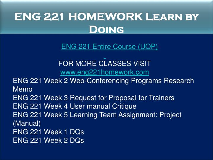 ENG 221 HOMEWORK Learn by Doing