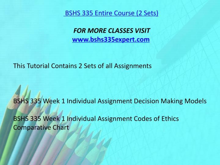 bshs 335 decision making models