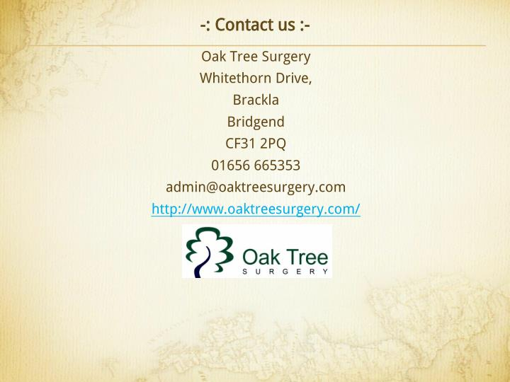 -: Contact us :-