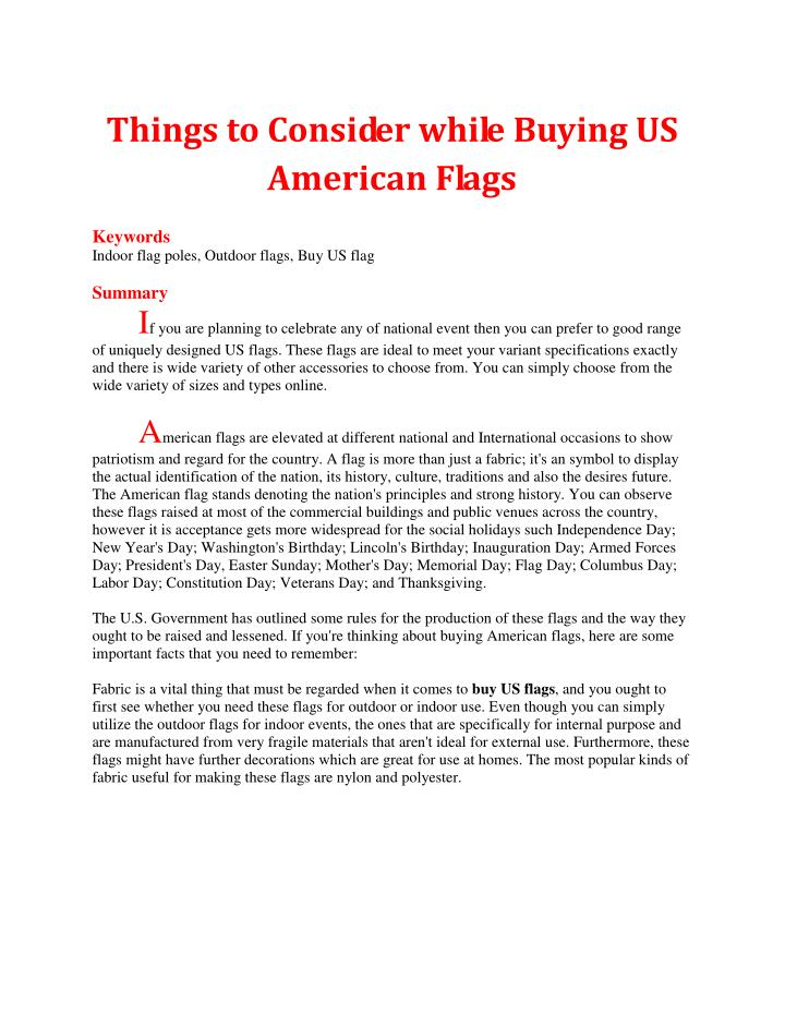 Things to Consider while Buying US