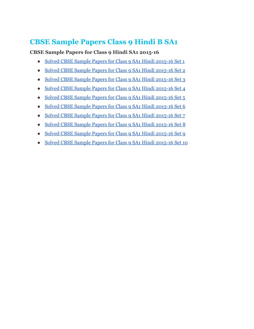 PPT - CBSE-Sample-Papers-Class9-Hindi-B PowerPoint