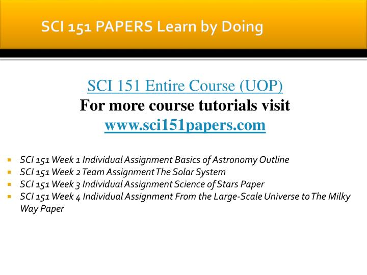 Sci 151 papers learn by doing