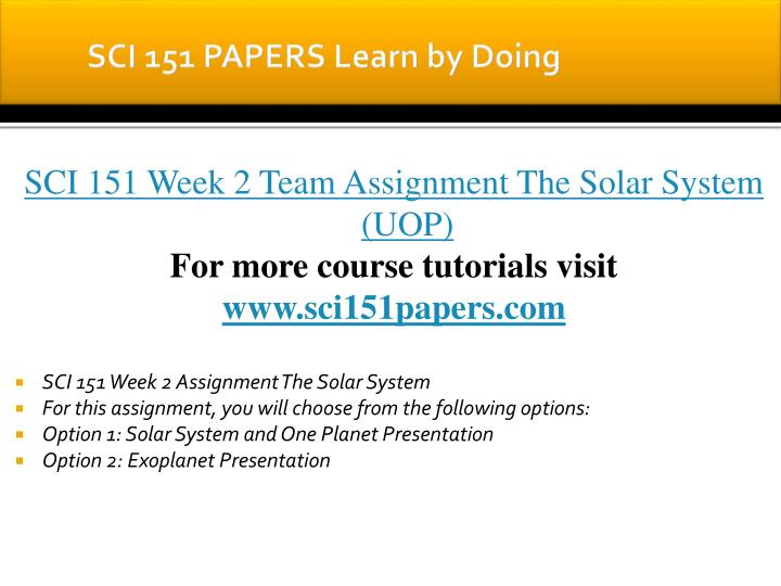 SCI 151 PAPERS