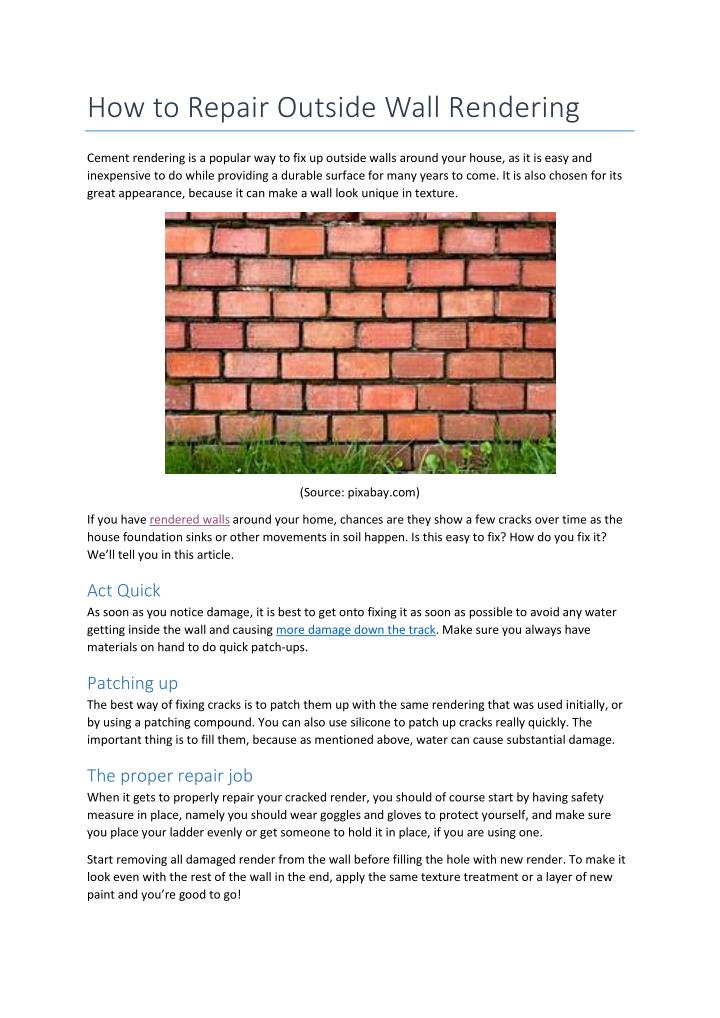 How to Repair Outside Wall Rendering