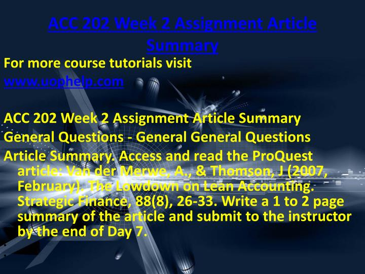 ACC 202 Week 2 Assignment Article Summary