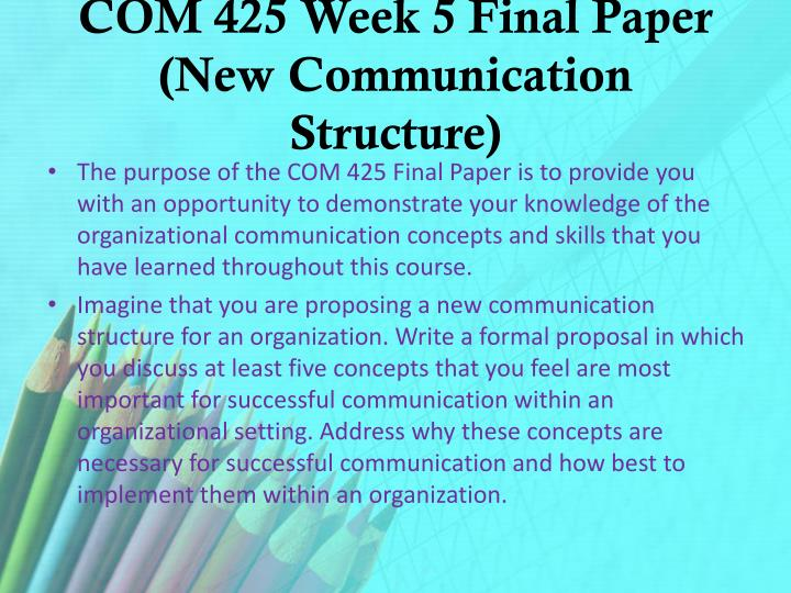 COM 425 Week 5 Final Paper (New Communication Structure)