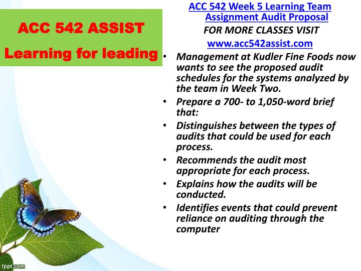 ACC 542 ASSIST Learning for leading