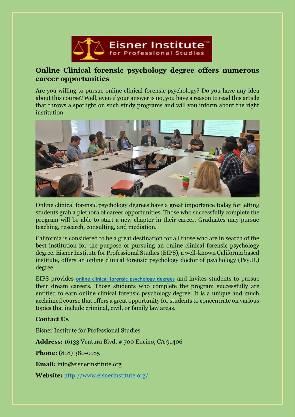 Ppt Online Clinical Forensic Psychology Degree Offers Numerous Career Opportunities Powerpoint Presentation Id 7342160