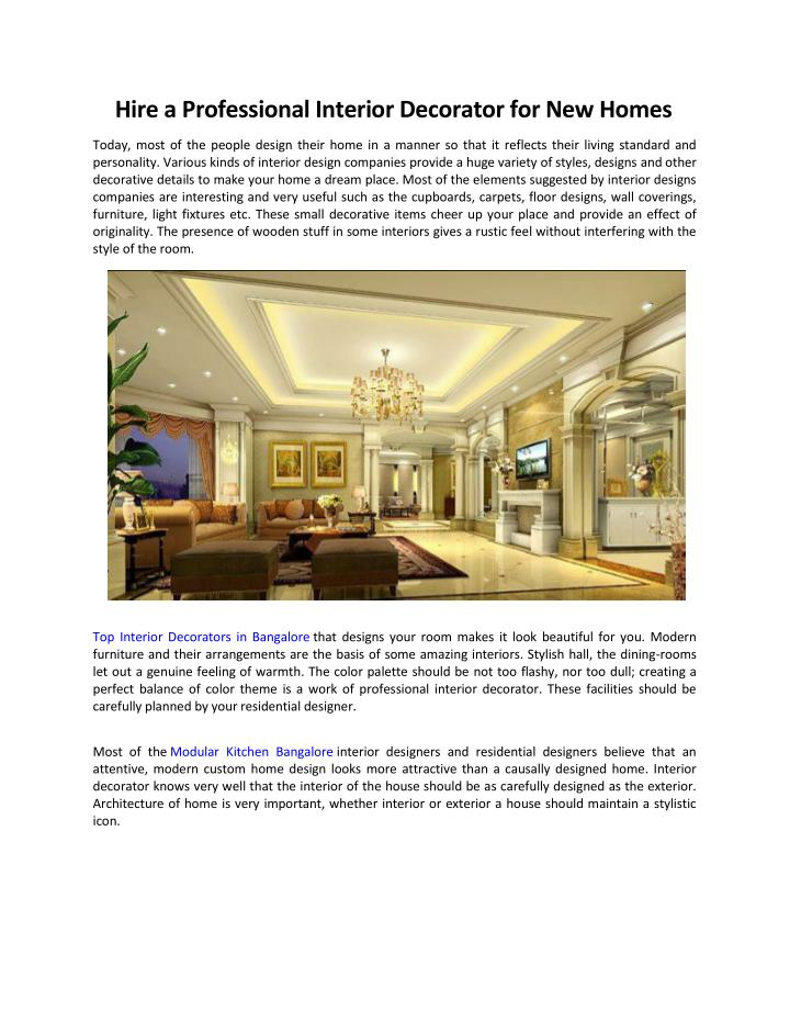 Ppt hire a professional interior decorator for new homes for Professional interior decorator