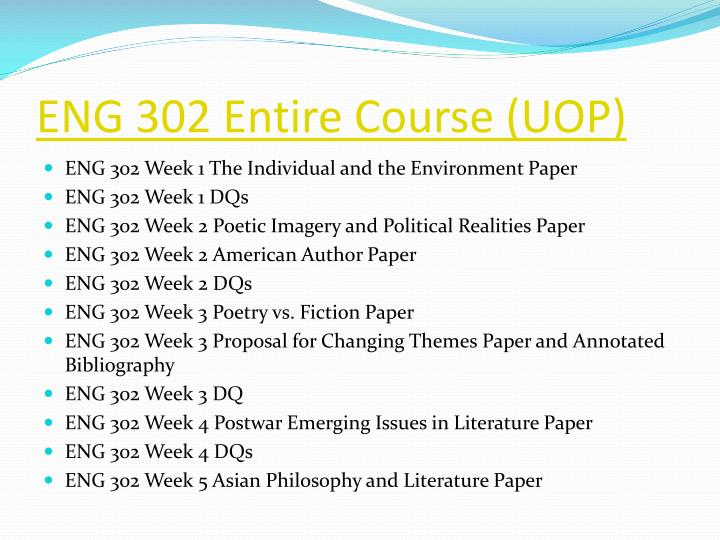 eng 302 week 2 individual paper Bpa 302 week 2 individual perspectives and choices interview or research paper check this a+ tutorial guideline at h.