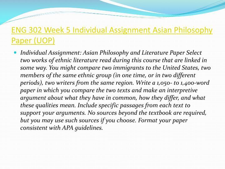 Eng 302 week 2 individual paper