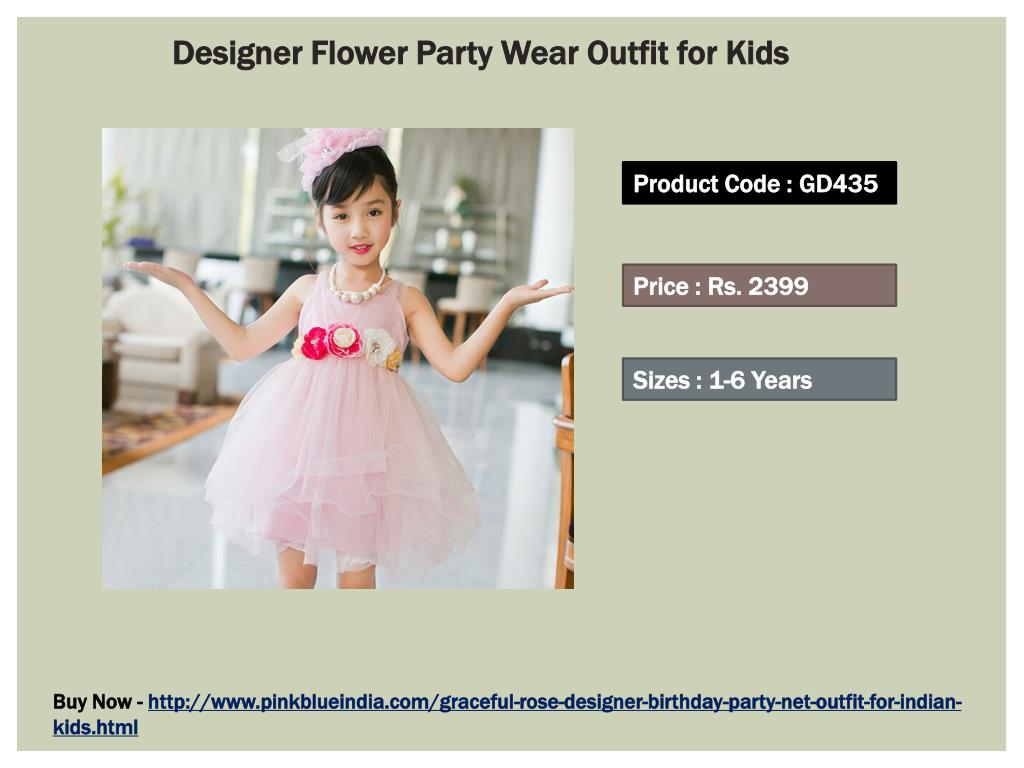 dd740904a5c ... GD435 Price   Rs. 2399 Sizes   1-6 Years Buy Now -  http   www.pinkblueindia.com graceful-rose-designer-birthday-party-net- outfit-for-indian-kids.html