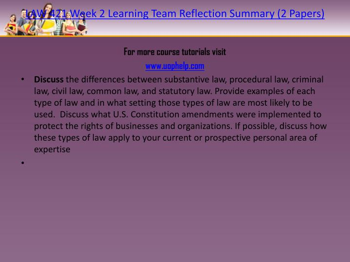 learning team weekly reflection law 421 Law 421 week 4 weekly reflection instruction discuss the common contracts that you and your teammates have encountered in your personal and professional lives.